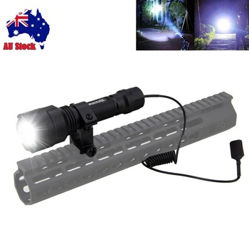 Hunting Flashlight 1000lm T6 LED Tactical Flashlight Waterproof Torch Hunting Lanterna+Mount+Remote Pressure Switch AU Stock a100 zoomable 1000lm hunting flashlight police tactical xml t6 white led 5modes flashlight hunting torch