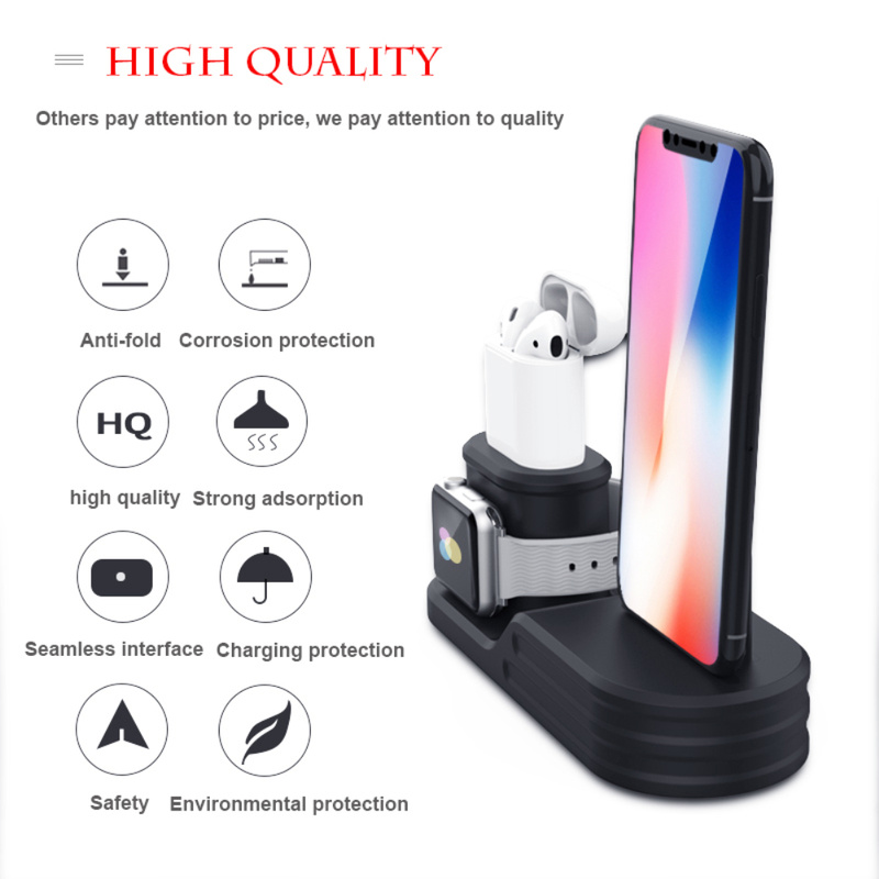 3-in-1 Charging Stand Base Silicone Charging Stand For IPhone Iwatch Airpods Charging Base With Charging Hole Equipment Storage