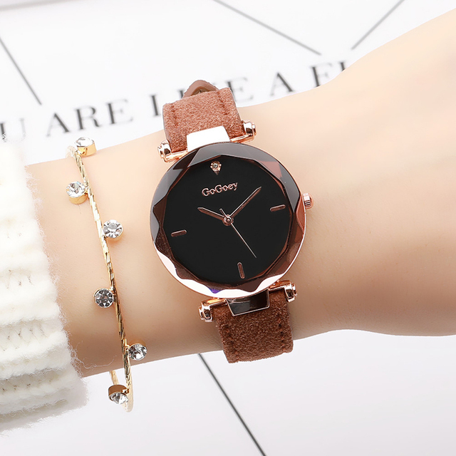 2018 Women Exquisite Top Luxury Diamond Quartz Ladies Watch Fashion Leather Wris