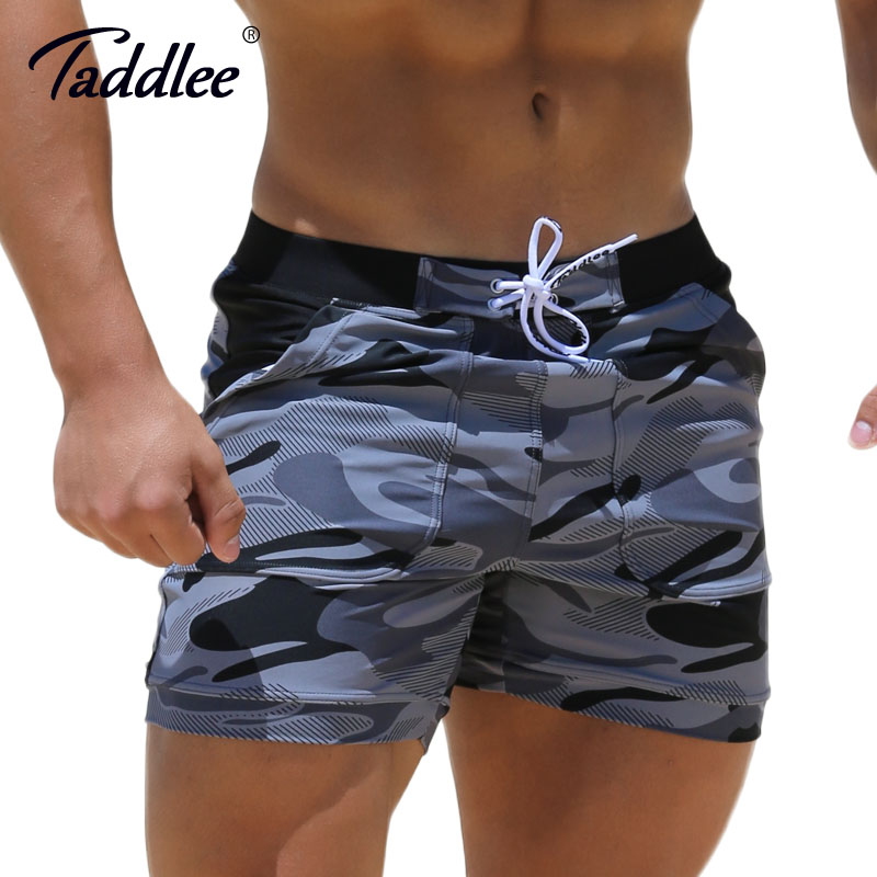 Taddlee Brand Sexy Men's Swimwear Swimsuits Man Plus Big Size XXL Spandex Beach Long   Board     Shorts   Boxer High Rise Cut Trunks Men