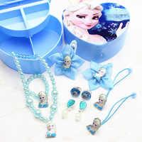 Disney filles jouets enfants maquillage jouets Minnie reine des neiges princesse collier ensemble anneau boucles d'oreilles princesse enfants bande de caoutchouc ensemble cadeau