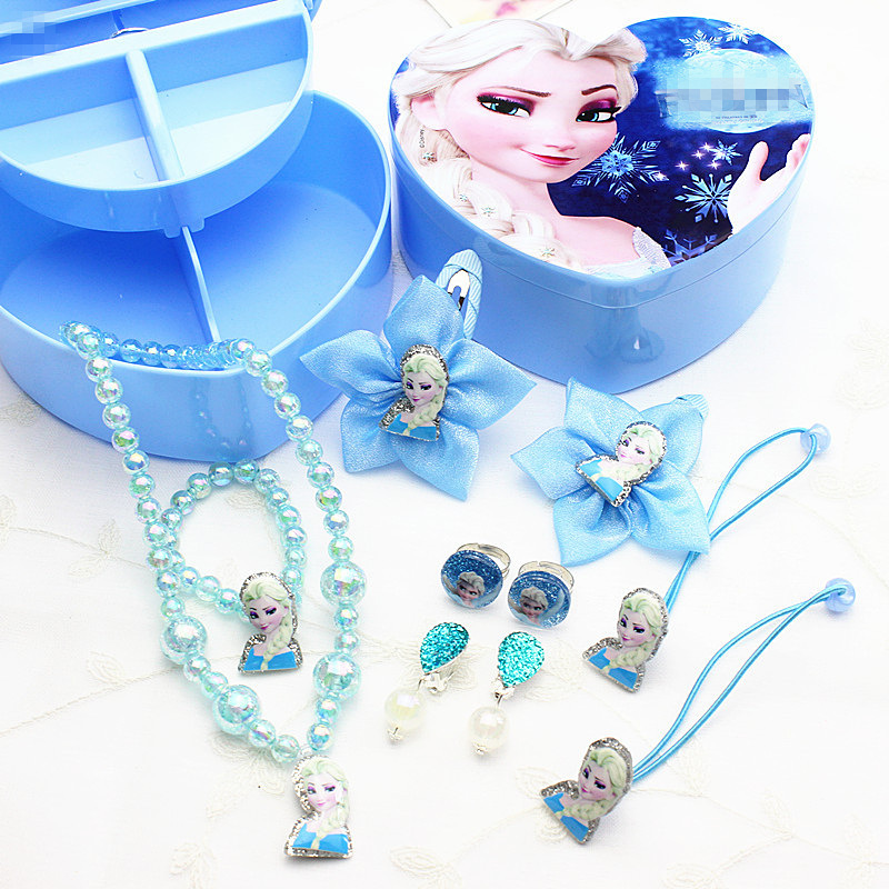 Disney Girls Toys Kids Makeup Toys Minnie Frozen Princess Necklace Set Ring Earrings Princess Children's Rubber Band Set Gift