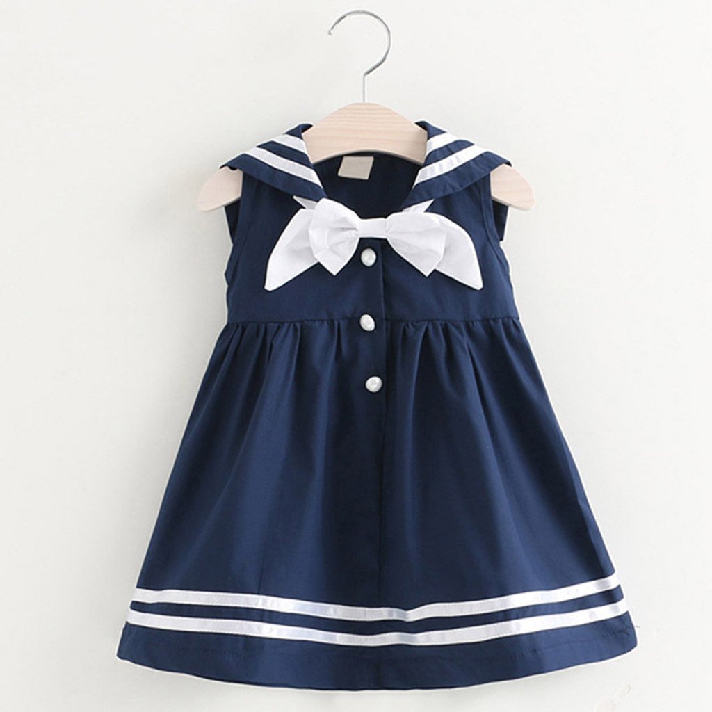 44da8120b ARLONEET niños pequeños bebé Niñas Ropa sin mangas Marina Bowknot fiesta  princesa vestidos g0509