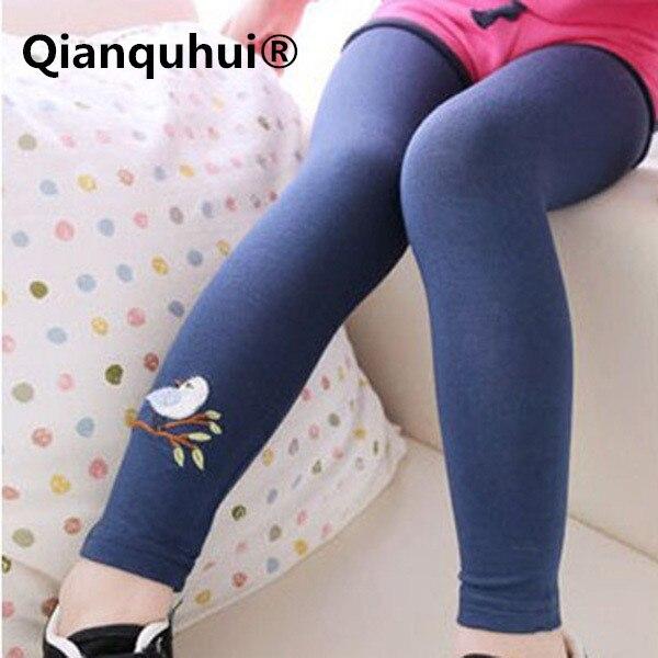 Qianquhui Hot Sale Toddler Baby Girls Kid Candy Skinny Soft Long Pants Leggings Cute Bird Print Stretchy Warm Leggings 2-7Y