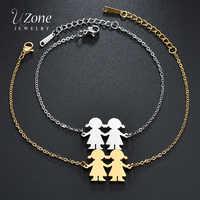 UZone Einfache Zwei Mädchen Familie Armband Edelstahl Schwestern Tochter Kette Armband Für Männer Frauen Bff Geschenk Frauen Armband