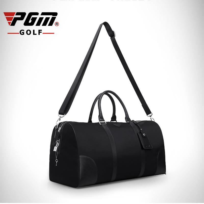 PGM 35L Golf Clothing Bag Portable Waterproof Nylon Genuine Leather Top Quality Golf Shoes Bag Double Layer Sports Bag Handbag pgm genuine golf standard durable bag waterproof lady golf capacity standard ball bag embroidered package contain full set club