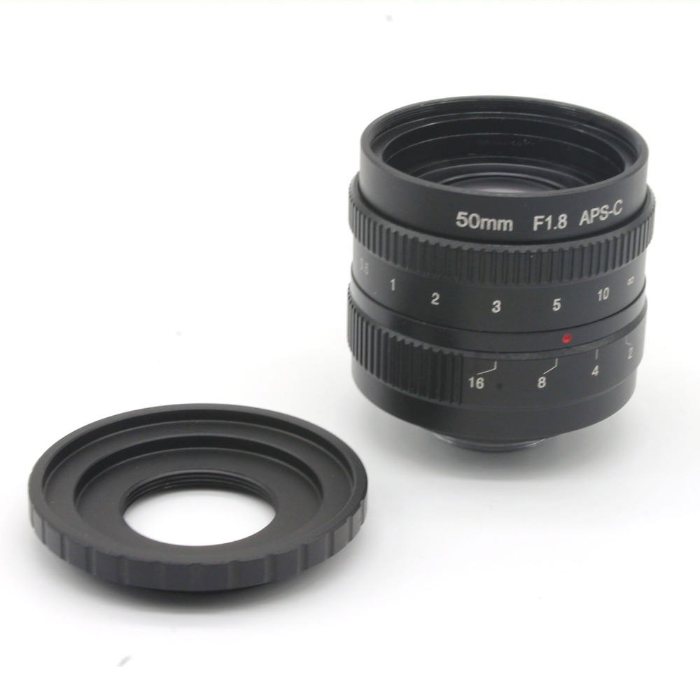 ФОТО 50mm f1.8 C mount CCTV Lens APS-C sensor camera lenses with C-FX adapter ring For For Fujifilm X-E1,X-Pro1 Free shipping