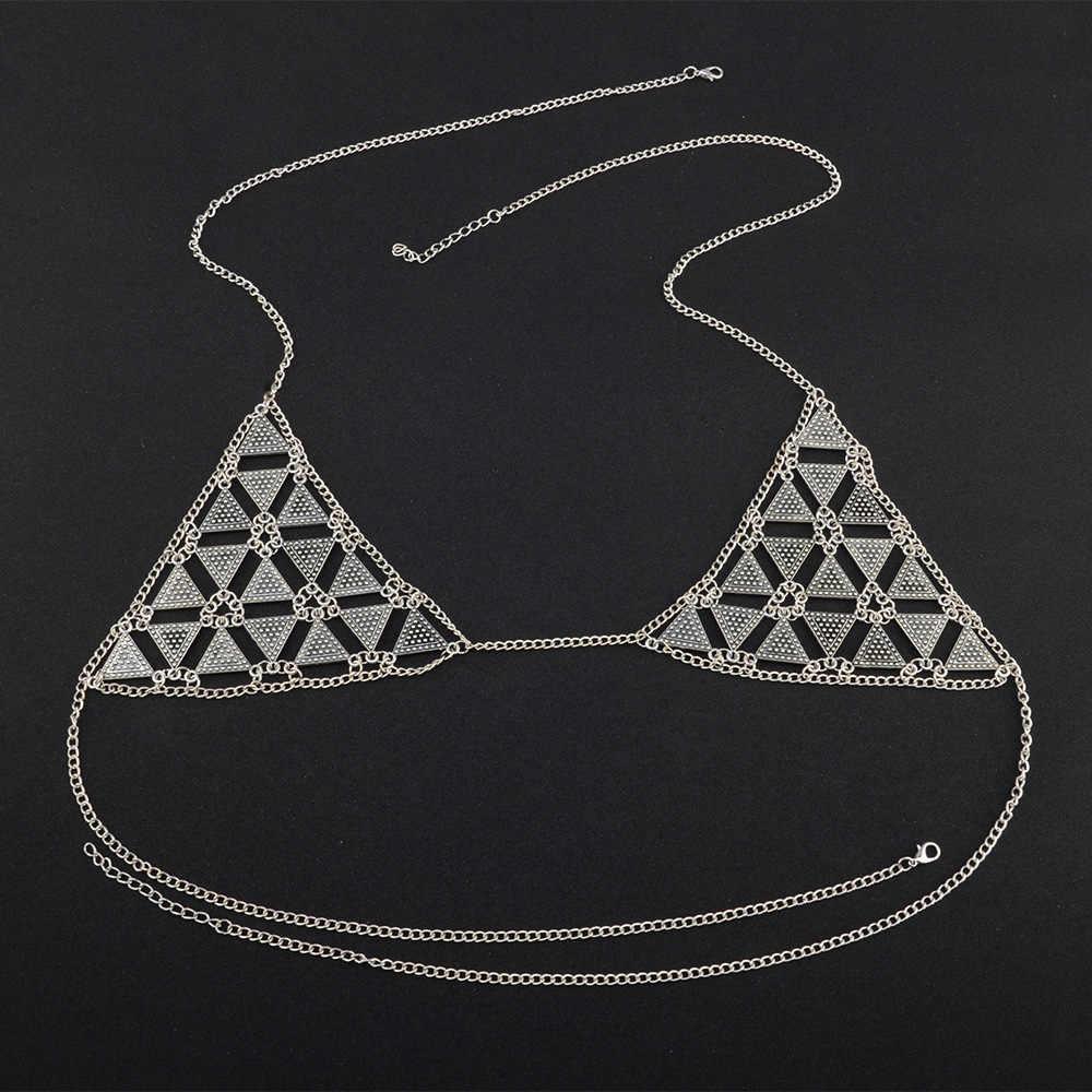 bcc04c22495ba ... Retro Triangle Bra Chains Jewelry body chain For Women Bikini Lady  Nightclub Beach Fashion Top Body ...
