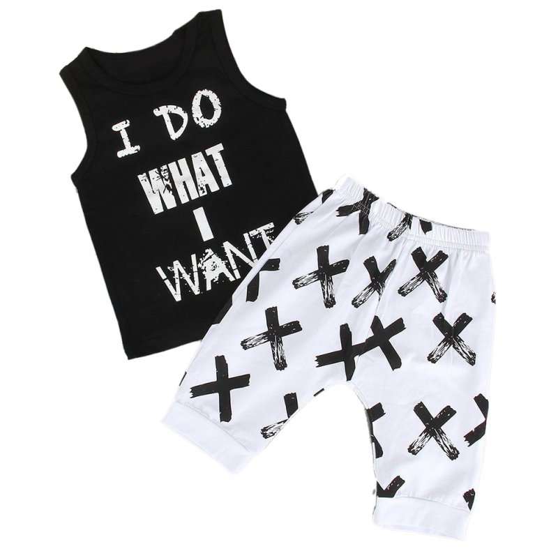 Hot Sale Baby Boys Letter Vest+Knee Length Print Pants Fashion Clothing New Summer Kids Clothes Cotton Polyester Sets