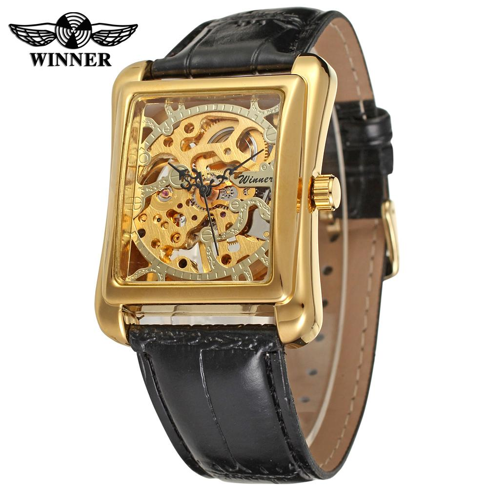 WINNER Men's Watch Luxury Branded Mechanical Skeleton Leather Strap Wristwatch Color Gold Band black WRG8004M3