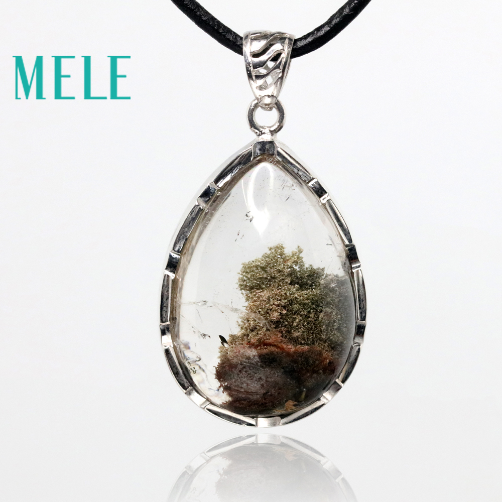 natural green ghost phantom garden crystal pendants for women and man,30X21mm water drop with Clear and bright