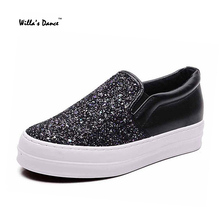 High Quality Sequined Cloth Shoes Woman 2016 Fashion Platform Shoes Brand Casual Flat Shoes for Ladies Sapato Feminino