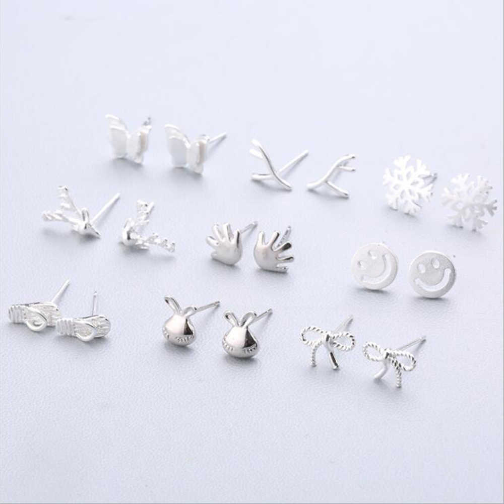 XIYANIKE 925 Sterling Silver Ear Needle Simple Fashion Geometry Stud Earring Personality Refinement Earring For Women Gifts 1-18