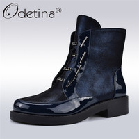 Odetina Autumn Winter Street Style Women Punk Boots With Metal Chain Chunky Heels Zip Platform Ankle Boots Women Fashion Boots