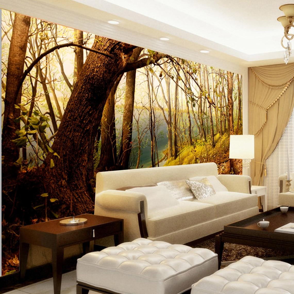 home decor art large Mural walls tv wall sofa background custom wallpaper 3d bedroom cafe bars woods, dusk,romantic photo fresco цена и фото