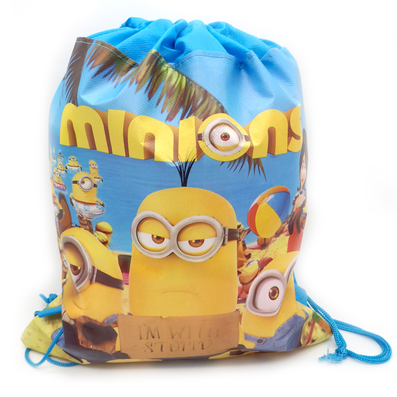 1pcs/lot Cute Minions Theme Decoration Backpack Birthday Party Drawstring Gifts Bags Baby Shower Kids Boys Child Favors Mochila