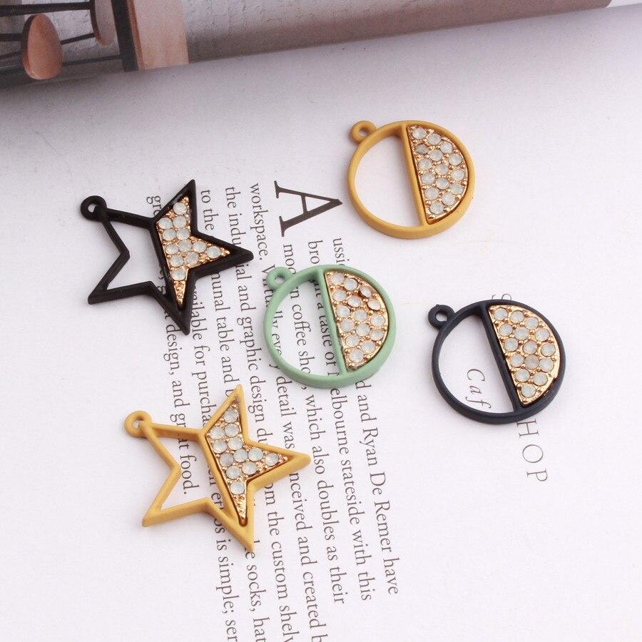 Free Shipping 30PCs Lot Crystal Rhinestone Paved Rubber Enamel Alloy Stars  Round Pendant Charm Craft Fit Bracelet Necklace 59f7ff7301d5