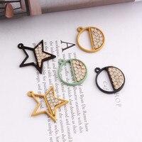 Freies Verschiffen 30 Teile/los Kristall Rhinestone Gepflasterte Gummi Emaille Legierung Sterne Runder Anhänger Charme Handwerk Passten Armband Halskette