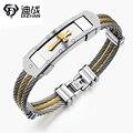 Men's Wire Chain Bracelet Bangles Fashion Punk Stainless Steel Cross Bracelet For Men Hale Christian Jewelry