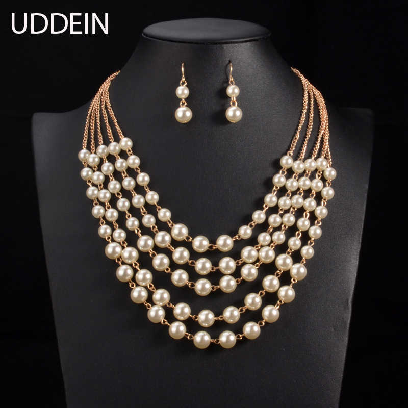 Multilayer simulated pearl necklace jewelry sets 2016 wedding fashion statement choker necklace for women Online Shipping India