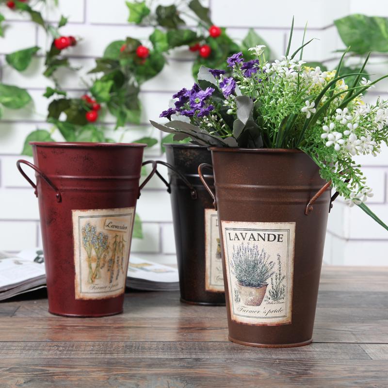 estilo simple flor baera mango odos florero macetas macetas jardn estao bucket escritorio decoracin del piso