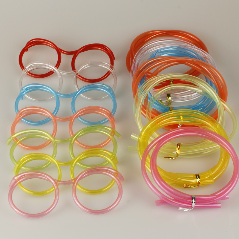 Funny Soft Glasses Straw Unique Flexible Drinking Tube Kids Party Accessories Colorful Red Blue Plastic Drinking Straws AB204 in Disposable Party Tableware from Home Garden