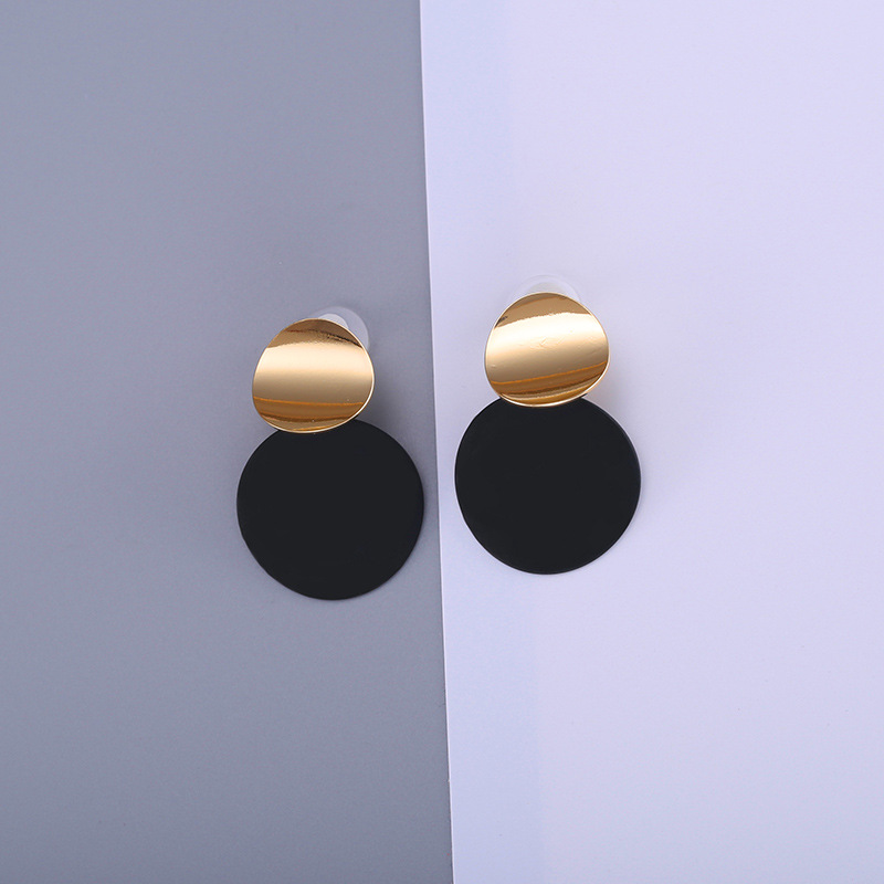 HTB1FBPci9 I8KJjy0Foq6yFnVXaj - Unique Black Stud Earrings Trendy Gold Color Round Metal Statement Earrings for Women New Arrival wing yuk tak Fashion Jewelry
