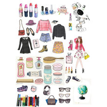 2 pcs/lot Girl Dress Collocation DIY Stationery Paper Sticker Post It Scrapbook Diary Stickers Album Planner Decoration(China)