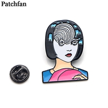 Patchfan Japanese horror Junji Ito Uzumaki Zinc tie Pins backpack clothes brooches for men women decoration badges medal A2064