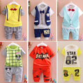2016 New Summer  baby Sport suit 100% cotton fashion  design baby boys clothing set for 1 2 3 Years Old A095-6