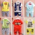 2016 Nova Verão bebê Esporte terno 100% algodão design de moda bebê meninos roupas set para 1 2 3 Anos de Idade A095-6