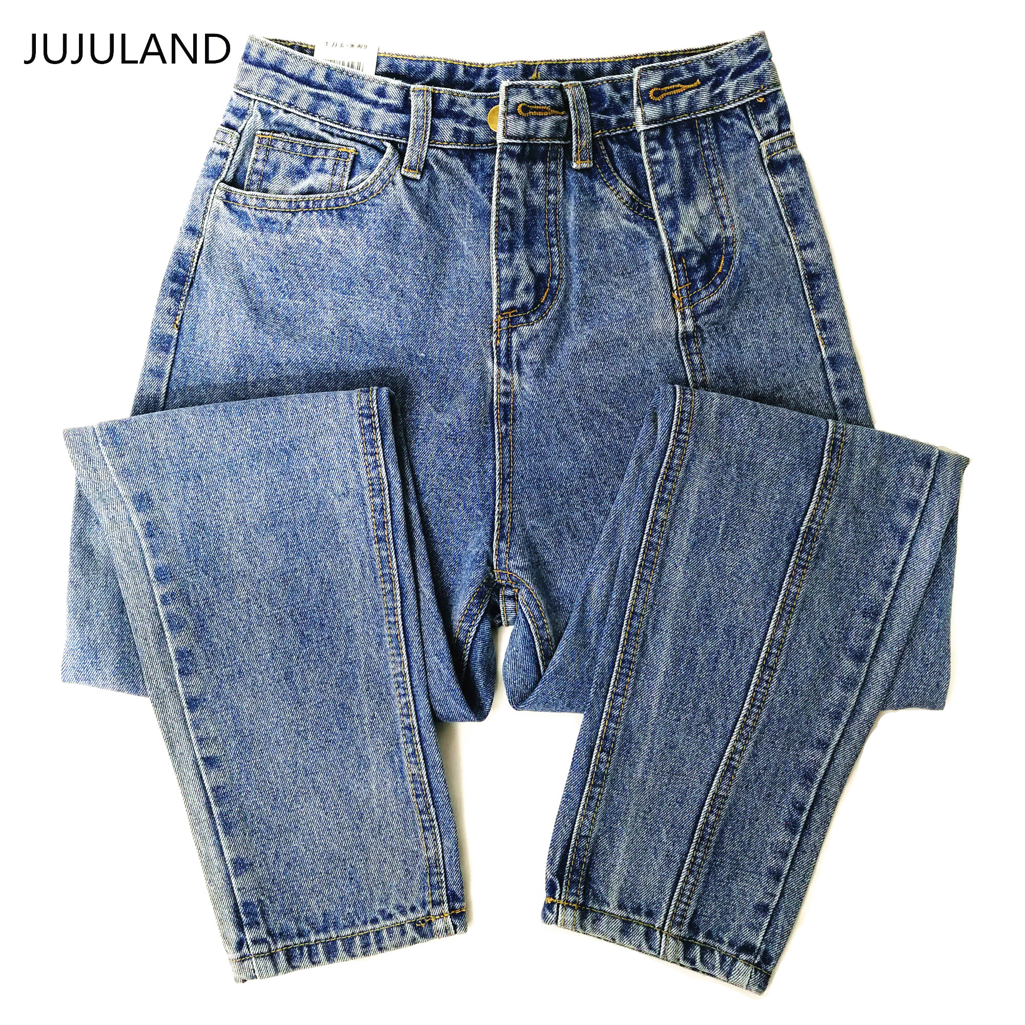 JUJULAND Jeans Ladies High Waist Female Boyfriend Jeans With A Tight Waist Denim Ripped Jean Woman Plus Size