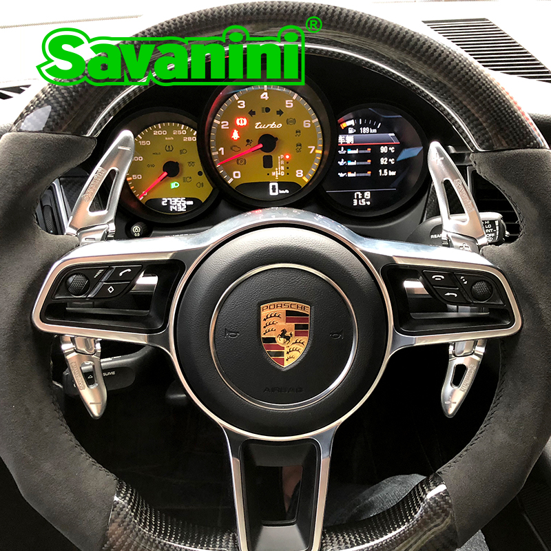 Savanini Aluminum Steering Wheel Shift Paddle Extension For Porsche Panamera Macan Cayenne 718 911 Boxster auto car accessories