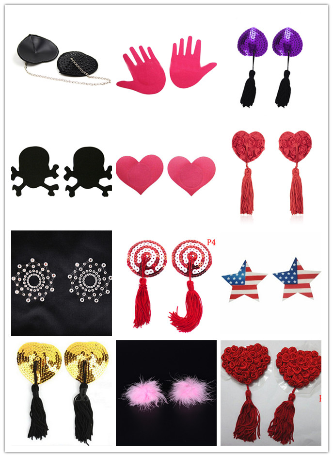Underwear Accessories Lace Women  Sexy Self Adhesive Sequin Tassel Cover Heart Shape Bra Nipple Cover Pasties Breast Petals