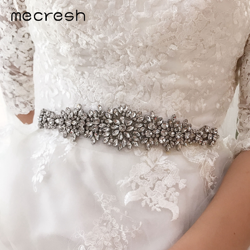 Mecresh Luxury Crystal Wedding Dress Belt For Bride Bridesmaid Handmade Rhinestone Satin Ribbon Belt Wedding Accessories YD004