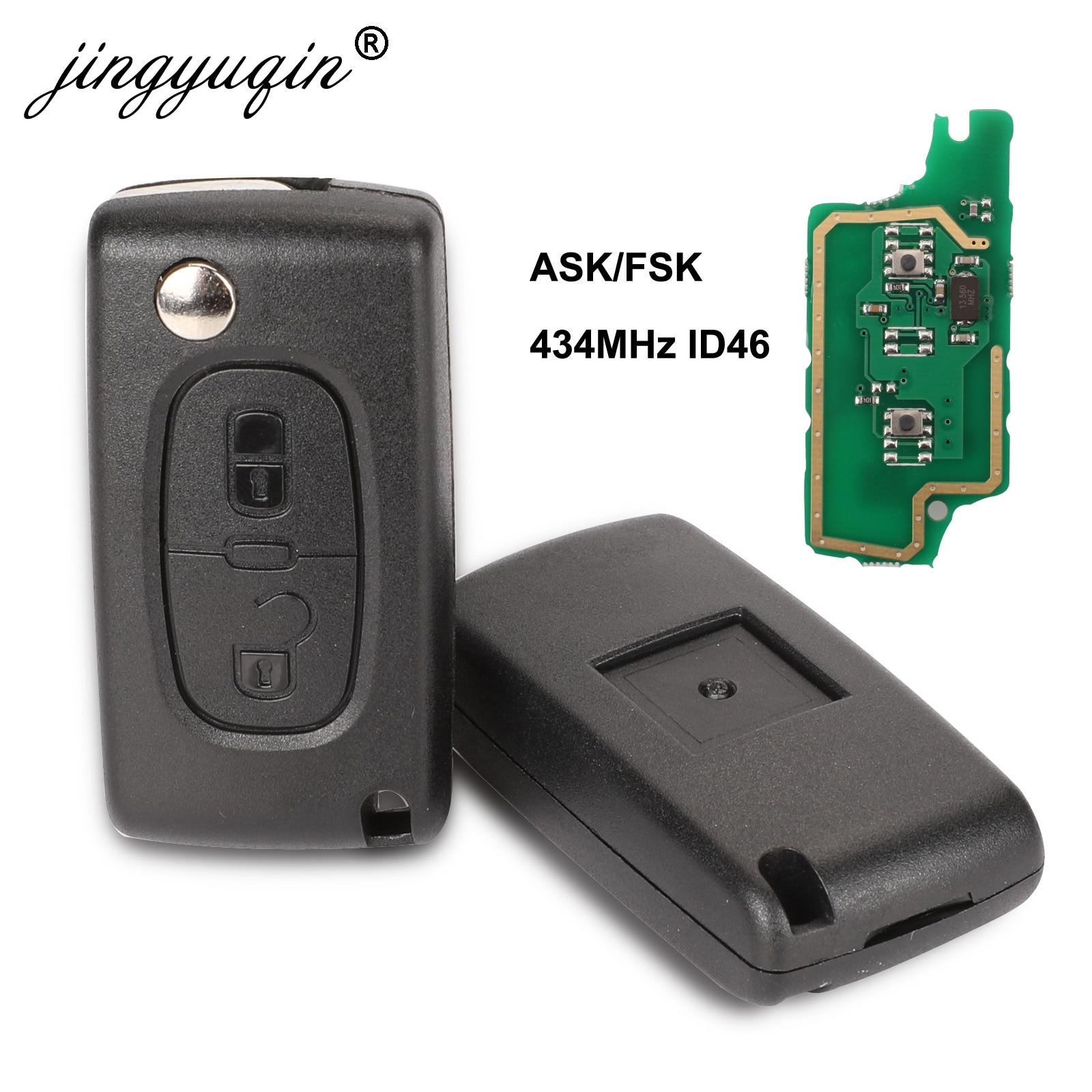 Пульт дистанционного управления jingyuqin, 434 МГц ASK/FSK, 2 кнопки, ключ-книжка для Peugeot 107 207 307 307S 308 407 607, чип PCF7961 PCF7941