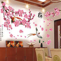 Chinese Style cherry blossom flower wall stickers Wall Removable Decor Mural Wall Stickers Pink Peach Butterfly Art Decal