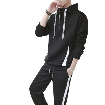 Rlyaeiz New 2018 Spring Autumn Two Piece Set Men Sporting Suits Casual Striped Hooded Hoodies + Shorts Sweat Suit Male Tracksuit