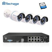 Techage 8CH 1080 P HD NVR Kiti POE CCTV Sistemi 4 ADET 2MP açık Güvenlik PoE IP Kamera Su Geçirmez P2P Onvif Video Gözetim Seti
