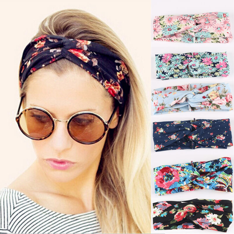 Ethnic Floral Wide Stretch Hair Band Retro Women Elastic ...