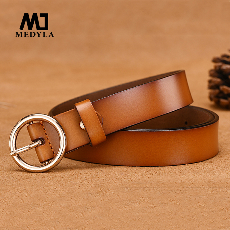Medyla Women Belts Cow Genuine Leather Good Quality Golden Buckle Alloy Pin Buckle Fashion Style Design Cinto Feminino Original