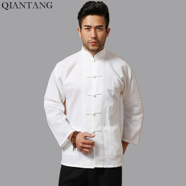 0c4c5e4d5659f White Men Cotton Linen Long sleeve Kung Fu Shirt Classic Chinese Style Tang  Clothing Size S M L XL XXL XXXL hombre Camisa Mim902
