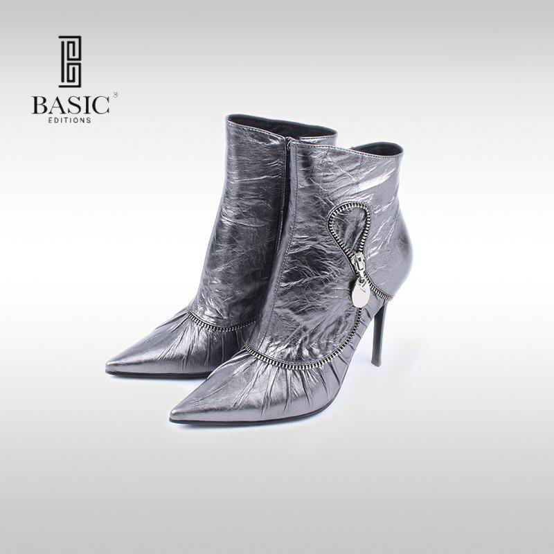 Basic Editions Women Genuine Leather Pointed Toe Pleated Styled High Heel Winter Ankle Short Boots with Zipper - 0951-4090 basic editions women dark grey suede leather spike high heel chain accessories winter long boots 1105 1422 aj91
