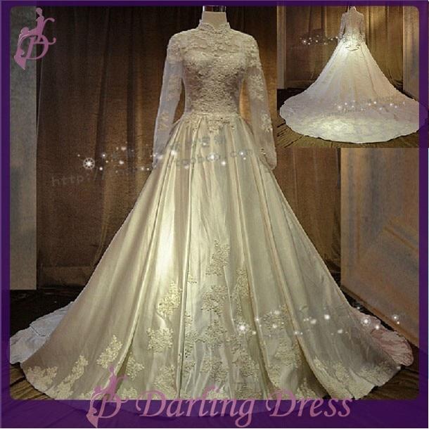 Cx187 New Fashion Muslim Style Beautiful Ivory Colored Satin Fabrics Long Sleeve Sheer Back Ic Wedding