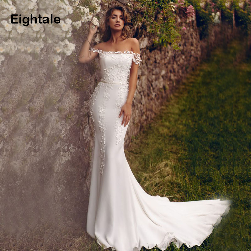 Eightale Mermaid Wedding Dresses 2019 Off The Shoulder Boat Neck Appliqued Boho Bride Dress Princess Wedding Gown Free Shipping
