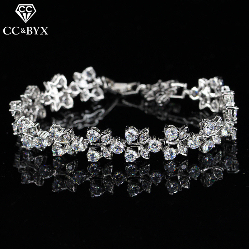 CC Bracelets For Women Luxury High Quality Leaf Design CZ Double Row Bangle Wedding Accessories Bridal Engagement Jewelry S0065