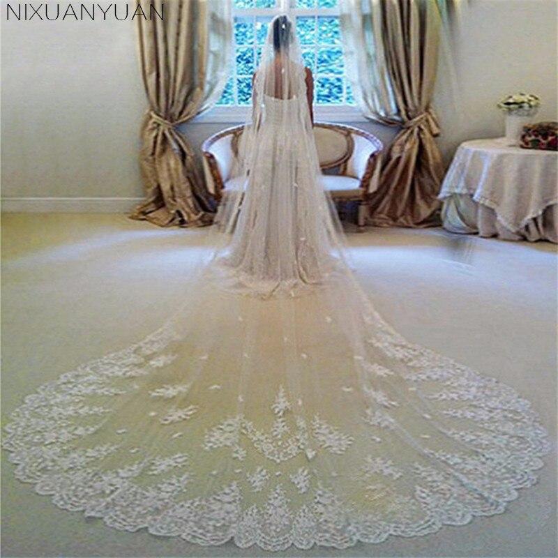 2019 nouveau Style voiles De mariage Veu De Noiva dentelle 3 M Long voiles De mariage ivoire blanc une couche Tulle voiles De mariée livraison gratuite
