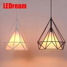 LEDream small black birdcage pendant lights Scandinavian modern minimalist pyramid light iron light with LED bulb