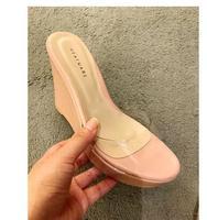 Summer Slippers Woman Transparent Wedges Slides Platform High Heel 9.5cm Shoes Women Mules Casual Flip Flops Wedges Ladies Shoes