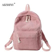 Preppy Style Women Canvas Backpack Soft Fabric School Bag for Teenagers Girls Backpack Corduroy Design Rucksack Mochila Feminina preppy style fashion women canvas solid school bag brand travel black backpack for girls teenagers stylish laptop bag rucksack